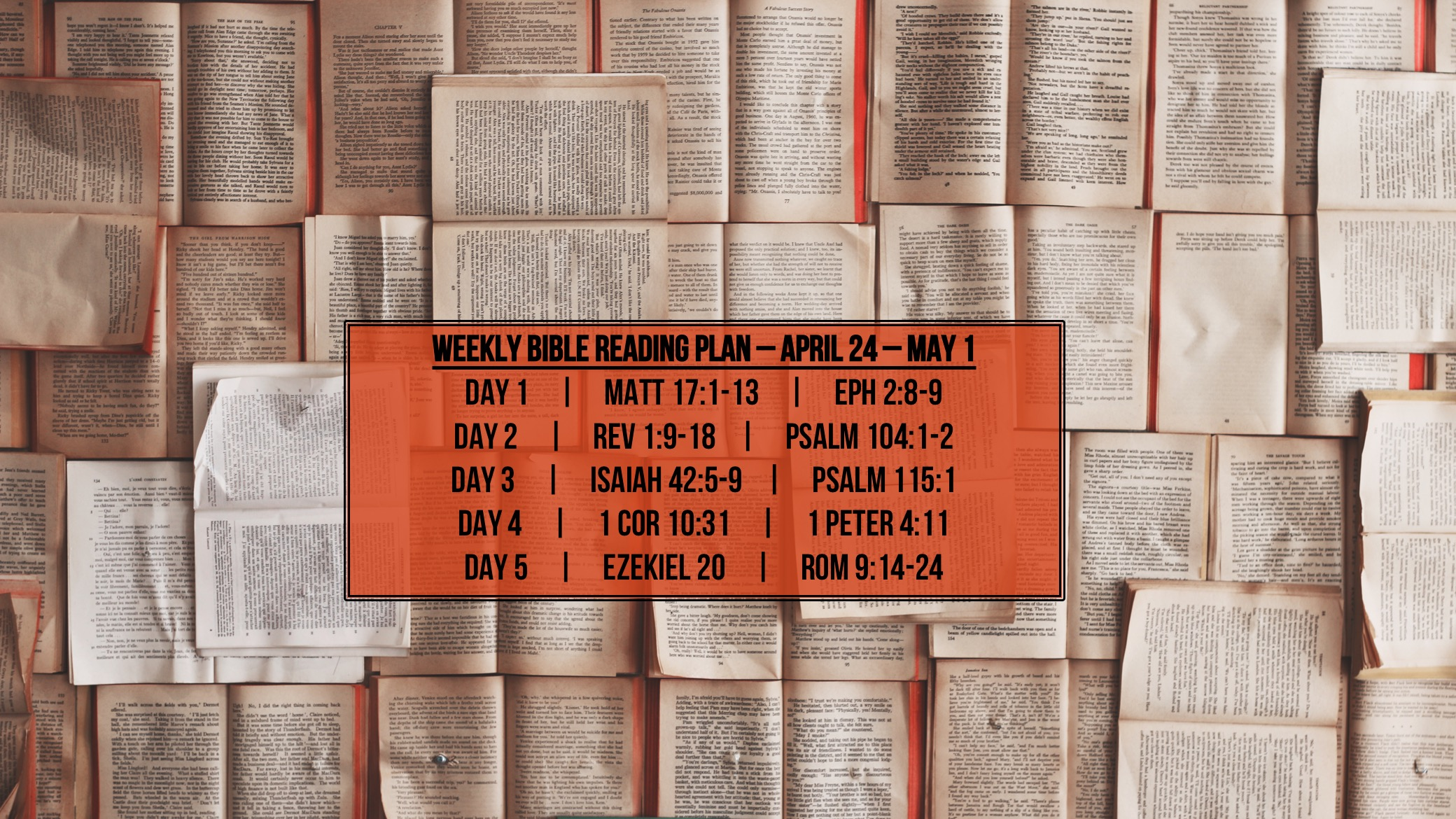 Matt 17.1-13 - Reading Plan -  April 24 - May 1.2016 - Soli Deo Gloria