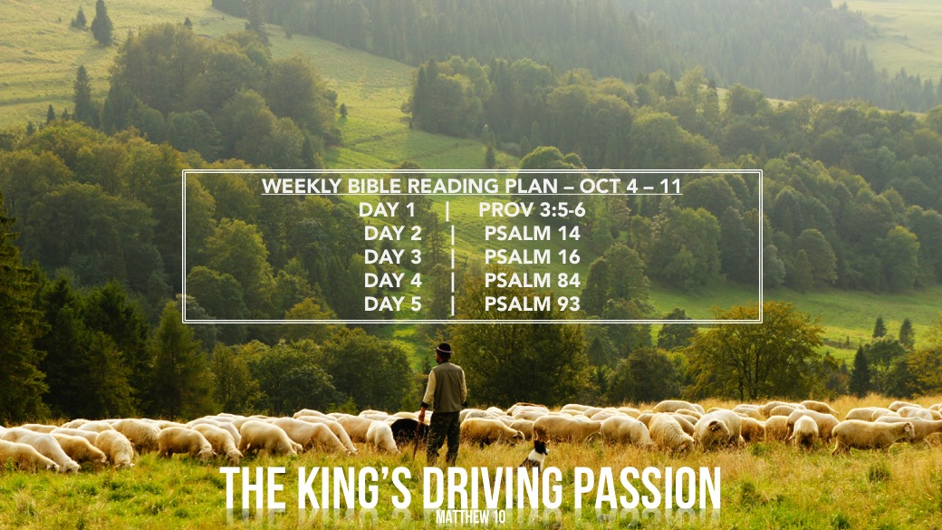 The Kings Driving Passion - Weekly Readings Oct 4-11