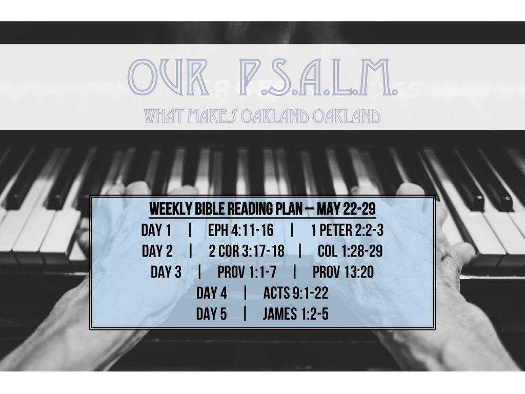 Our PSALM - A - Reading Plan -  May 22-29.2016 - Always Growing