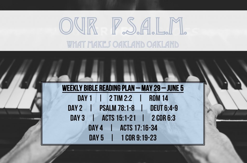Our PSALM - A - Reading Plan -  May 29 - June 5.2016 - Leave Legacy